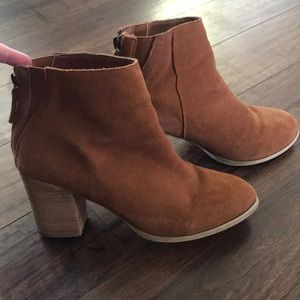 Suede Block Heel Booties